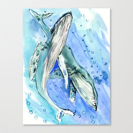 Humpback Whales, two whales ocean underwater scene beach Canvas Print
