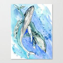 Humpback Whales, two whales ocean underwater scene beach Canvas Print