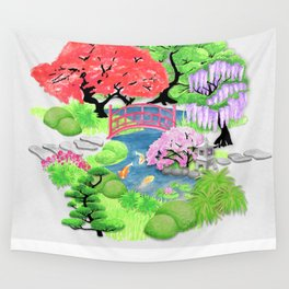 Japanese Garden_Watercolor & Ink Wall Tapestry