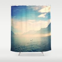 swan Shower Curtains featuring Swan by My own little world