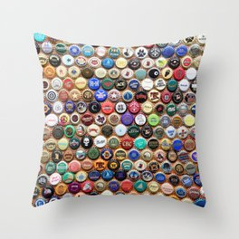 Beer and Ale Bottle Caps Throw Pillow