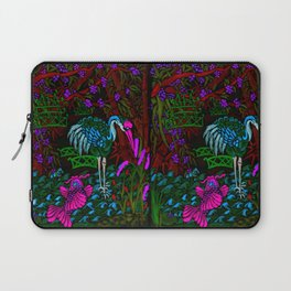 Asian Bamboo Garden in Black Velvet Watercolor Laptop Sleeve