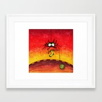 knitting Framed Art Prints featuring Knitting Spider by Frank