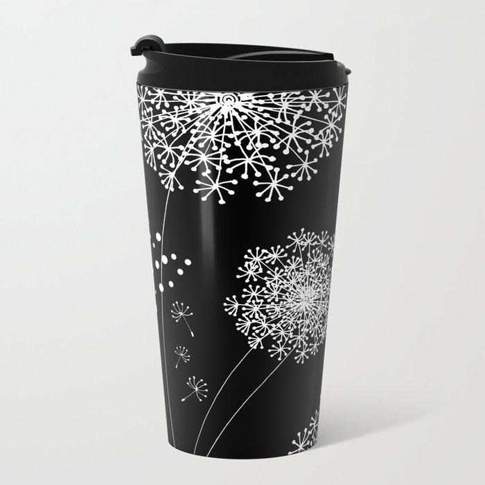 DANDELION SNOWFLAKE BLACK Metal Travel Mug