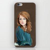 emma stone iPhone & iPod Skins featuring Emma Stone by Artsy Rosebud