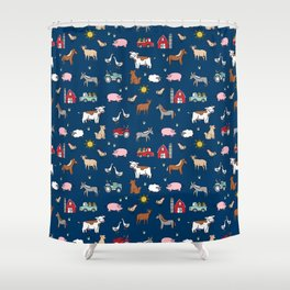 Farm animals nature sanctuary cow pig goats chickens kids gender neutral Shower Curtain