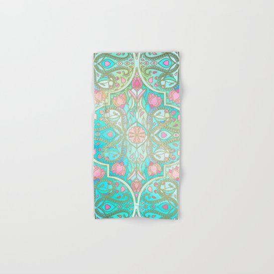 Floral Moroccan in Spring Pastels - Aqua, Pink, Mint & Peach Hand & Bath Towel