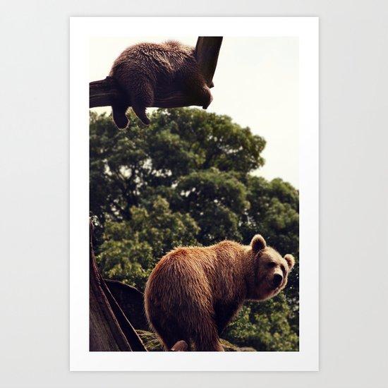 bear & cub Art Print