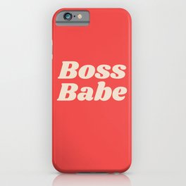 Retro Boss Babe - Coral iPhone Case