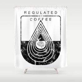 Caffeine on the Brain // Regulated by Coffee Espresso Drip Distressed Living Graphic Design Shower Curtain