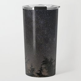 Andromeda Galaxy, Perseus and milkyway over the forest in the mountains Travel Mug