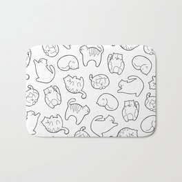 Cute Cats Pattern - Black and White Bath Mat