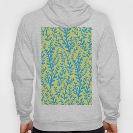Yellow and Blue Floral Leaves Gouache Pattern Hoody