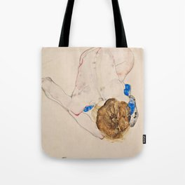 "Egon Schiele ""Nude with Blue Stockings, Bending Forward"" Tote Bag"