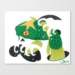Astro Koi Green Canvas Print
