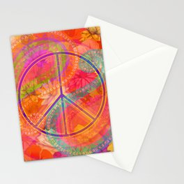 Hippie Chic Paisley Flowers Peace Stationery Cards