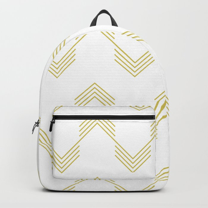 Simply Deconstructed Chevron Mod Yellow on White Backpack