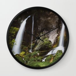Twin Falls // Colorado Summer Waterfall Mountain Landscape Wall Clock