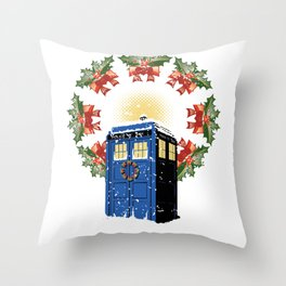 A WARM AND CONFORTABLE TARDIS I N THE SNOWSTORM Throw Pillow