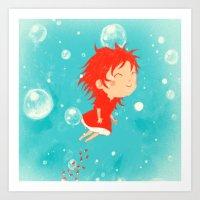 ponyo Art Prints featuring Ponyo by Peerro
