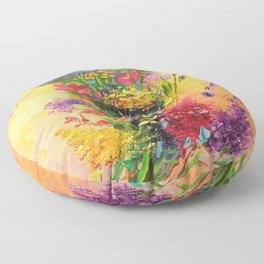 A bouquet of beautiful wildflowers Floor Pillow