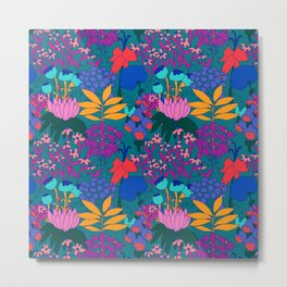 Psychedelic Jungle Garden in Pond Teal Metal Print