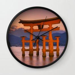 I - Miyajima torii gate near Hiroshima, Japan at sunset Wall Clock