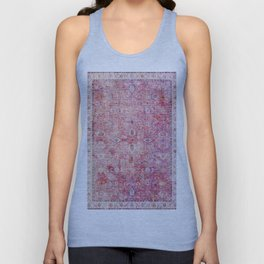 N45 - Pink Vintage Traditional Moroccan Boho & Farmhouse Style Artwork. Unisex Tank Top