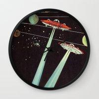 aliens Wall Clocks featuring Aliens  by dreamshade