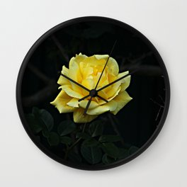 Yellow Rose Flower on Branch Wall Clock