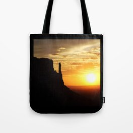 Sunrise over Monument Valley West Mitten Butte Tote Bag