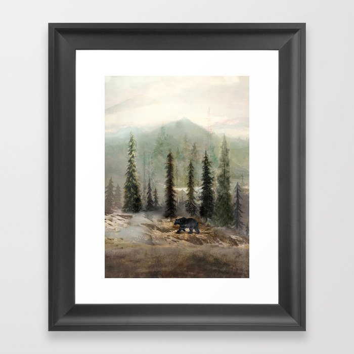 Mountain Black Bear Gerahmter Kunstdruck