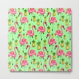 Flamingos with Pineapples Metal Print