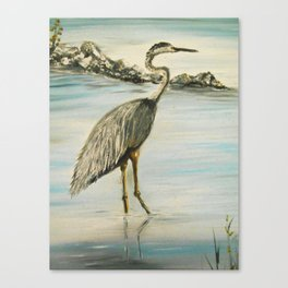 Great Blue Heron in Oil Canvas Print