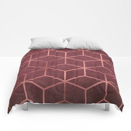 Pink and Rose Gold - Geometric Textured Gradient Cube Design Comforters