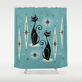 Mid Century Meow Retro Atomic Cats on Blue Shower Curtain