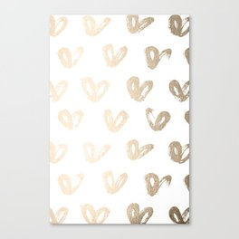 Luxe Gold Hearts on White Canvas Print
