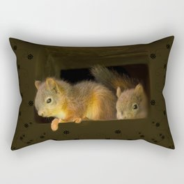 Young squirrels peering out of a nest #decor #society6 #buyart Rectangular Pillow