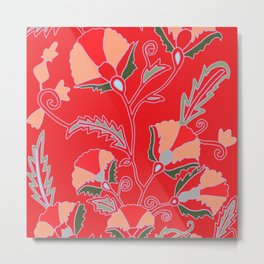 Suzani-inspired blooms on red Metal Print
