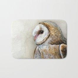 Barn Owl Watercolor, Birds Of Prey Wild Animals Owls Bath Mat