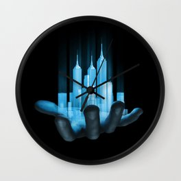 Virtualville / 3D render of miniature holographic city in human hand Wall Clock