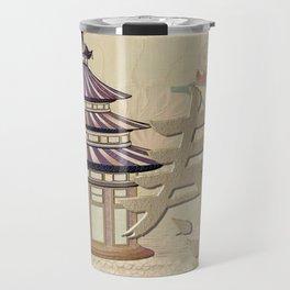 Pagoda Rose Oriental Mixed Media Travel Mug