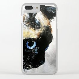 Siamese Cat Right Side Tapestry Clear iPhone Case