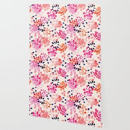 Flower abstract, watercolor floral pattern Wallpaper
