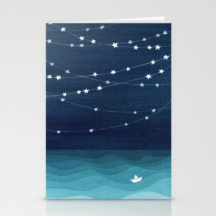 Garlands of stars, watercolor teal ocean Stationery Cards