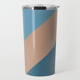 Brown Blue Minimal Diagonal Stripe Pattern 2021 Color of the Year Canyon Dusk & Accent Shades Travel Mug