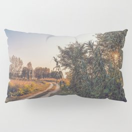 Country dirt road in Lomellina at sunset Pillow Sham