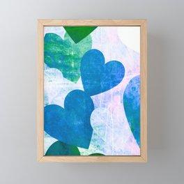 Fab Green & Blue Grungy Hearts Design Framed Mini Art Print