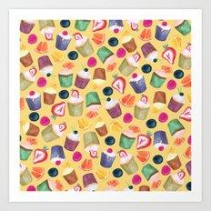 Exotic Cupcake Pattern Art Print