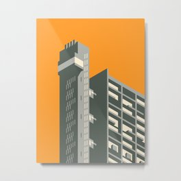 Trellick Tower London Brutalist Architecture - Orange Metal Print